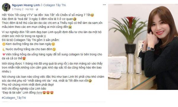 Collagen Tây Thi - Bí quyết chăm sóc da của MC Hoàng Linh